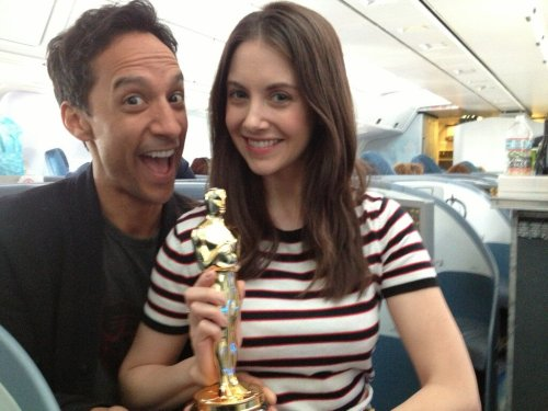 We won! (please don't tell Mychael Danna we stole his Oscar on the plane)