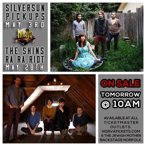Two huge shows on sale tomorrow at 10am! Silversun Pickups (5/3) & The Shins with Ra Ra Riot (5/28). Grab yours at any Ticketmaster Outlet, norvatickets.com, and at The Jewish Mother Backstage Norfolk.