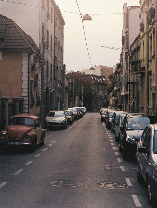 serbiauninterrupted:  palilula street | belgrade, serbia  I spy with my little eye… a Zastava Koral! :3
