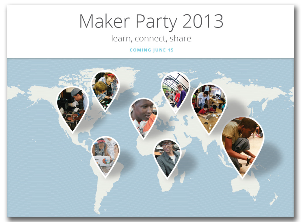 You're invited to a global partycelebrating the things we can make thanks to the web! Join people around the world to celebrate making—and the amazing things we can make and learn through the collaborative power of the web. Throw or attend events in schools, libraries, museums, hackerspaces, living rooms, anywhere.  Last year we held more than 700 events in 80 countries—and this year's party will be even bigger! #makerparty This year's Maker Party will be held from June 15th to September 15th. Sign up now to receive updates:https://webmaker.org/en-US/party
