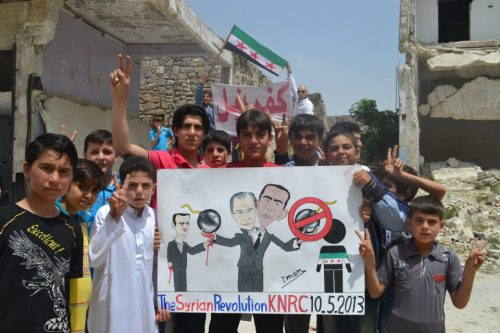 A poster from this week's protest in Kafranbel, Idleb (Syria). Russia continues to arm Assad's forces while Obama does … nothing.