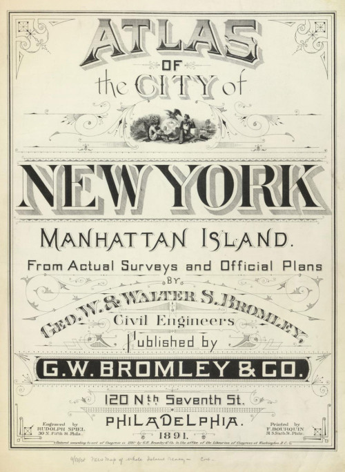 Gorgeous vintage cover for Atlas of the City of New York, 1891. Complement with how Manhattan got its famous grid.
