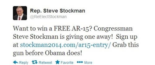 No, this is not a parody Twitter account. Rep. Steve Stockman (R-TX), is giving away a Bushmaster AR-15 rifle, for free. Who says the GOP doesn't care about the poor? The contest does come with a disclaimer:  Firearms prizes must be claimed through a licensed firearms dealer in accordance with federal, state and local law. Firearms prize winners must meet all legal requirements and will be subject to a dealer's background check.  A background check? RINO!
