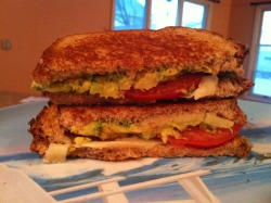 Breakfast: Grilled Parmesan, avocado & tomato sandwich