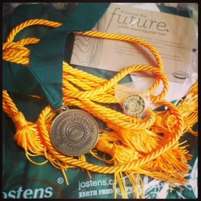 "Received my cap, gown and honors cord for graduation today. I also was given a ""medal of distinction"",  a special pin, and a gas card for graduating with a 4.0   :)) feels good to see my hard work paying off. I'm a little bit closer.. <3  #blessed #college #graduate #EOPS #behavioralscience"