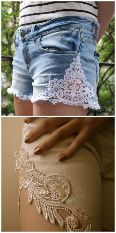 truebluemeandyou:  DIY Lace Applique Shorts Tutorials. I've posted before that you can find appliques in the bridal section of fabric and craft stores.  Top Photo: M&J Lace Applique Shorts Tutorial here. Bottom Photo: Clones N Clowns Applique Short Tutorial I posted here (over 10,000 notes). There is also a link at this post on where to buy and how to dye the lace appliques by inspiration & realisation.  Easy DIY versions that are most likely the inspiration for these shorts from H! By Henry Holland