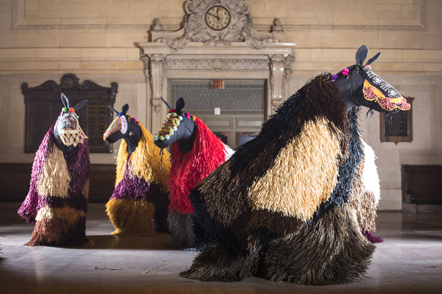 THE DAILY STORY   Nick Cave to Fill Grand Central With a Herd of Soundsuit Horses Grand Central hosts 21,600,000 visitors annually, has been the site of numerous flash mobs, and now even has its own Apple store, but the venerable train station has never seen anything like this. Artist and performer Nick Cave has created 30 of his signature Soundsuits in the shape of horses. The array of equines will take up residency in Grand Central from March 25 to 31. [Read more on Hyperallergic] VIEW even more artworks by Nick Cave here.