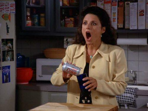 celebritiesdrinkingdietcoke:  Elaine Benes, I love you. Ever since someone introduced me to the Twitter @seinfeldtoday, I've been obsessed with Seinfeld all over again. I've been watching with my parents since I was in elementary school, and the show is still perfect. I never even realized that Elaine was a fellow Diet Coke lover. I guess the two of us have more in common than amazing dance moves. Stay extraordinary, Elaine Benes/Julia Louis-Dreyfus. I hope to see Selina Meyer knocking back a Diet Coke on Veep very soon!