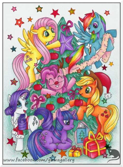 mlpfim-fanart:  Christmas is Magic by ~Yawannka  Happy Hearth's Warming Eve!