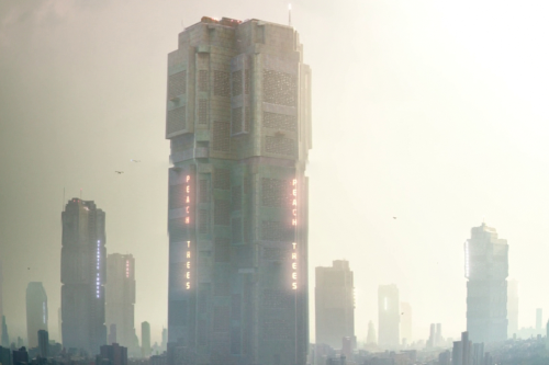 Composite image of multiple screenshots from the movie Dredd 2012