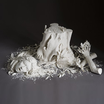"fyeahwomenartists:  Kate MacDowellDaphne, 2007  (via Kate MacDowell - ""daphne"")  Daphne: A nymph who evaded Apollo's advances by becoming a laurel tree. -From the glossary of Ovid's Metamorphosis, translated by Rolfe Humphries I have a soft spot for mythological figures that transform into trees."