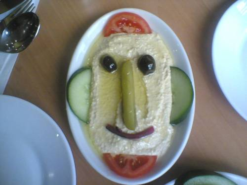 Description English: A face made of humus. Found in Turkish Pizza restaurant in London. Date12 November 2004, 03:27Sourcehumus faceAuthor Joi Ito from Inbamura, Japan File usage on Commons  There are no pages that link to this file.  File usage on other wikis  The following other wikis use this file: Usage on en.wikipedia.org User talk:Τασουλα/Archive2