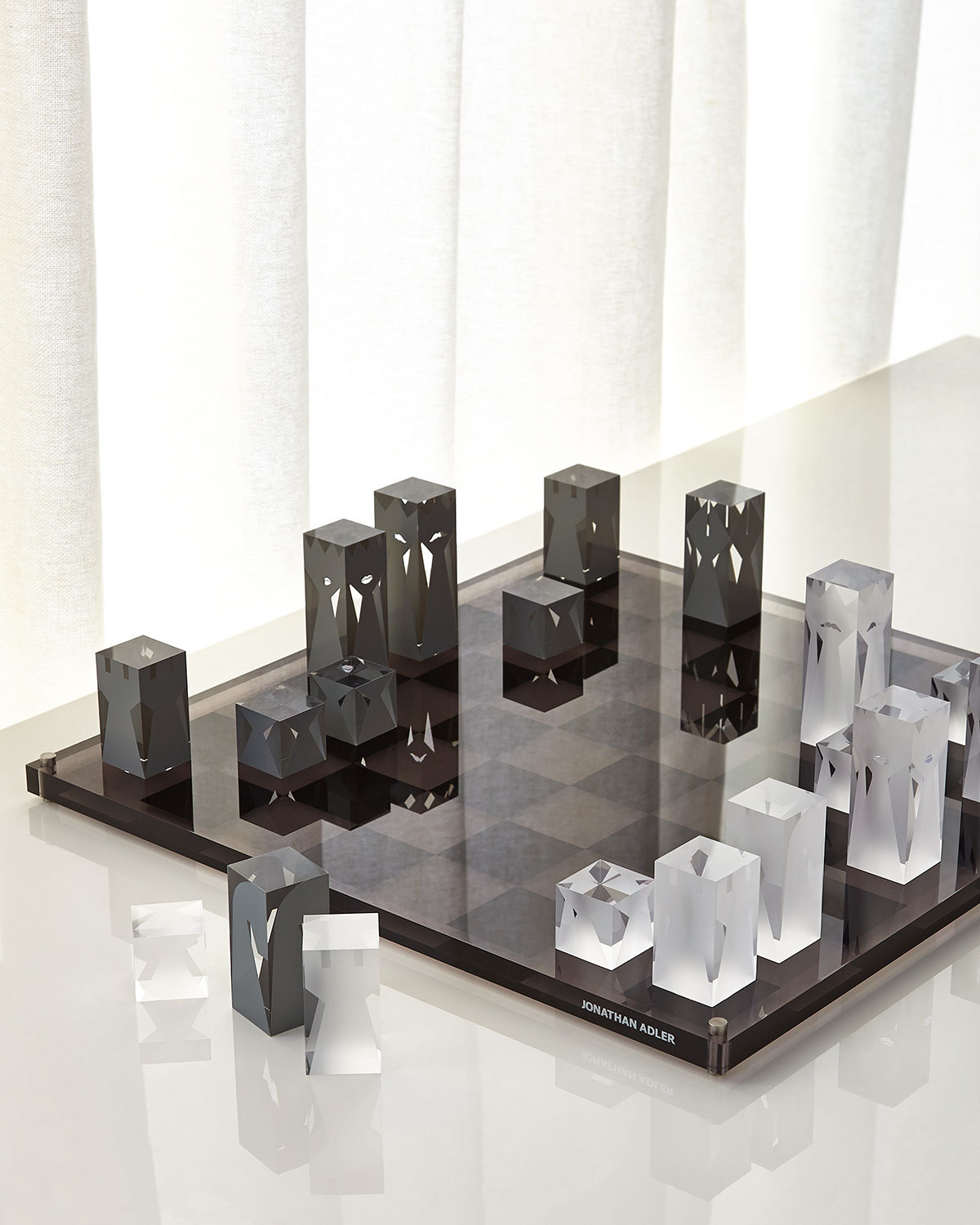 Jonathan Adler #Jonathan Adler#product#toy#game#glass#material#black&white#transparency#transluscent#geometric