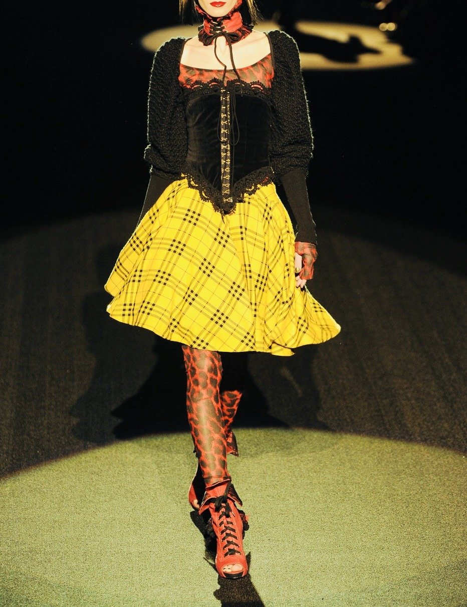 betsey johnson fall 2011 rtw #nyfw#betsey johnson #new york fashion week #fw#fashion#upl#fw11#runway#models#style#photography#people#love#plaid#yellow#red#black#clothing#corset top#corset dress