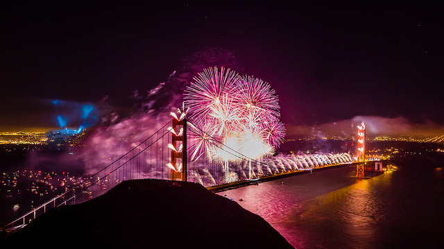 Golden Gate 75th Fireworks on Flickr.Via Flickr: Happy Valentine's Day I couldn't think of a better image to share today then this. The Golden Gate Bridge 75th Anniversary is a day I will remember for the rest of my life. No firework show will ever compare to this, unfortunately. Well, maybe the 100th! I have so many shots from this night and have never shared this one, but felt the pink fireworks were fitting for today.  To view my favorite composite image from that night: www.flickr.com/photos/tobyharriman/7627231766/Website | facebook | Google+ | Blog | Stipple