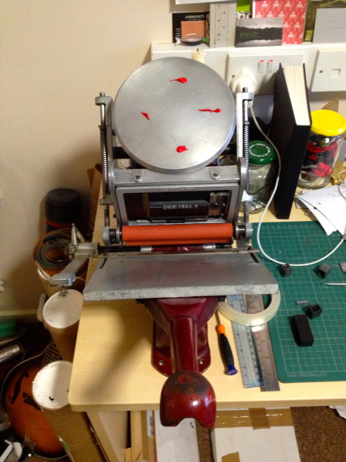 I finally have a press so I can do letterpress! I'm going to be doing photopolymer plates so I can letterpress my digital work too, I'm really excited at the possibilities. gonna be making lots of cool stuff you folks can buy!