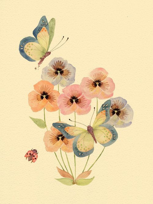 colleenparker:  Butterflies & Pansies