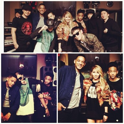 YG family w/ Smith family  #Will #Jaden #CL #GD #TOP #teddy #studio