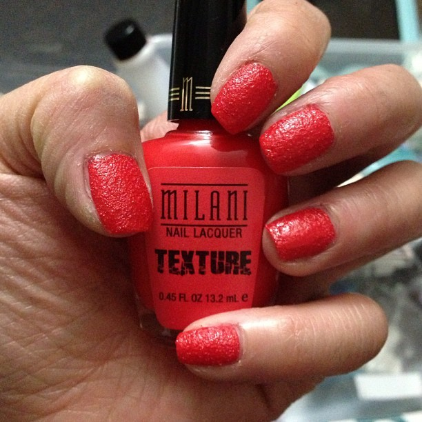 Trying out #milani #nailtextures #nailpolish it's matte and feels like I have gravel stuck in the polish 😏… kind of on the fence about it. Maybe if I got a different color….? What do you guys think of it?