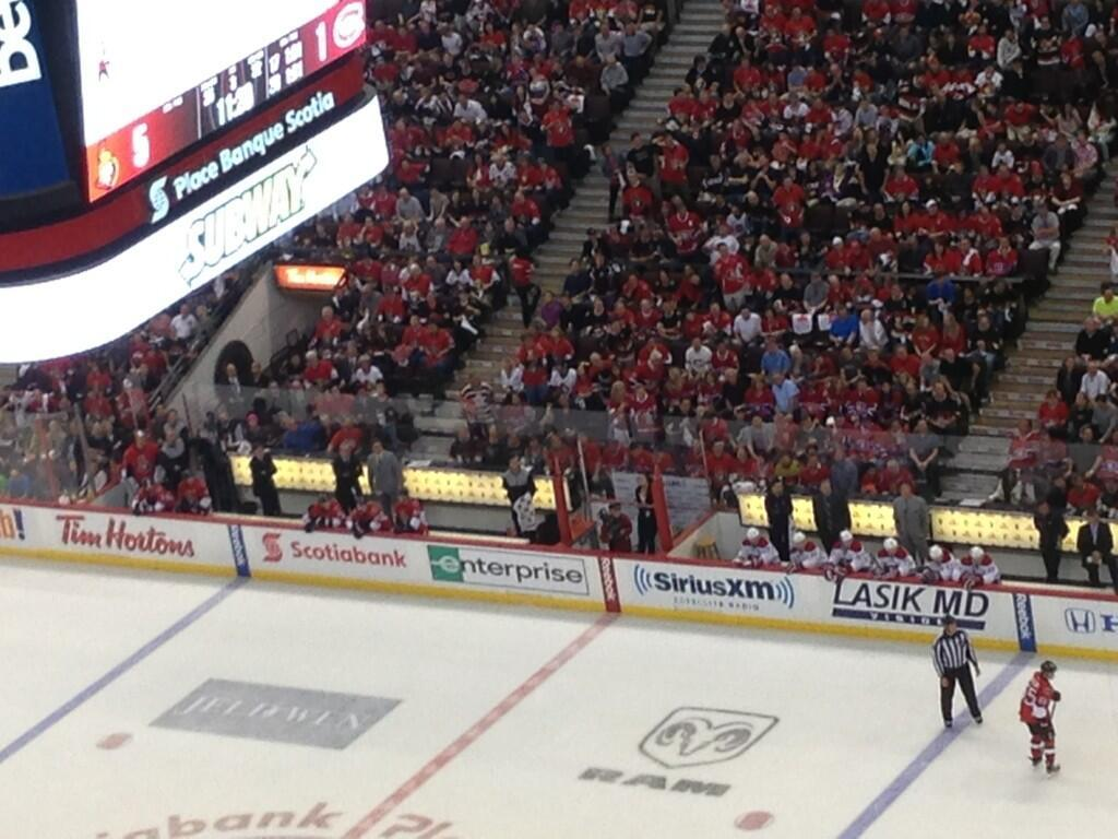 The Sens and Habs bench after their clownshoes of a Game Three.  Photo by Amanda Stein of TSN 690.