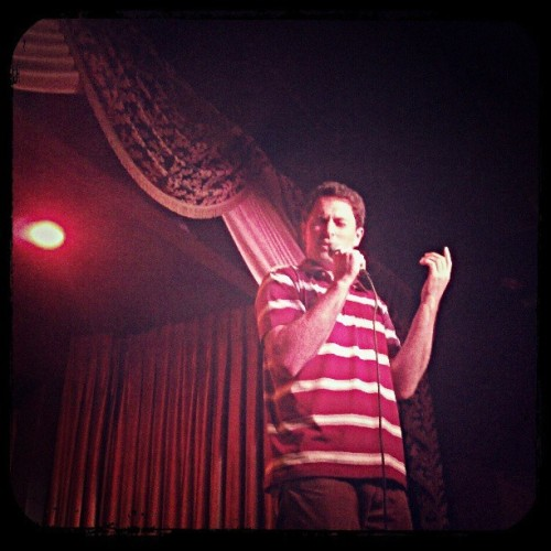Mr. @huntsbergerjunk sharing street poetry @HotTub_Show. #thevirgil
