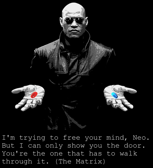 "keepcalmandmoviequote:  ""I'm trying to free your mind, Neo. But I can only show you the door. You're the one that has to walk through it""  - Morpheus The Matrix"