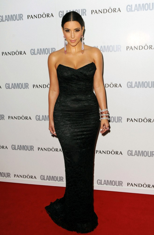 6/7/11: Kim at the Glamour Women of the Year Awards in London.
