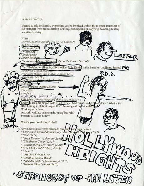 James Franco's doodles.