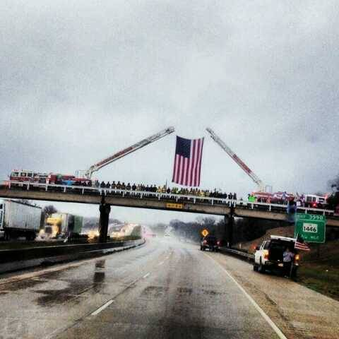 1ghts:  My town did this as they started the route to Austin for his burial. So proud of my town for this amazing act of respect to say goodbye to our very own Chris Kyle.  This is such a beautiful way to honor and respect the true American hero that lived in our town. Rest in paradise Chris Kyle