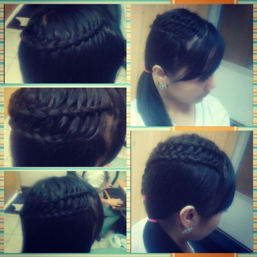Feather waterfall & ladder braid combo by juning! :-D @crying_angel24  (at Cardioplus)