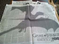 Top use of dragon shadow. Ad in The New York Times for Game of Thrones via @geniuscreative