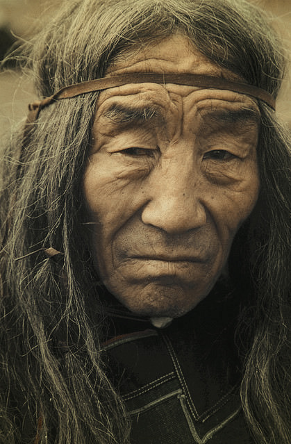 diaphanee:  An old Evenk shaman's face.Ulan-Ude. Republic of Buryatia (Russia).