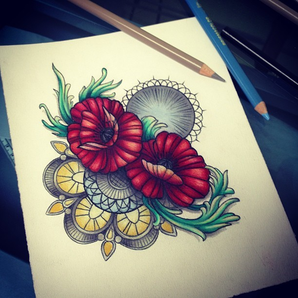 Who wants a foot tattoo?? #tattoo #drawing #colour #colourpencil #poppies #decorative #mandala