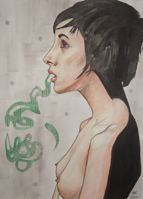 """respira""watercolor, india ink, newspaper on paper2012by amanda panglewww.apangle.tumblr.com"