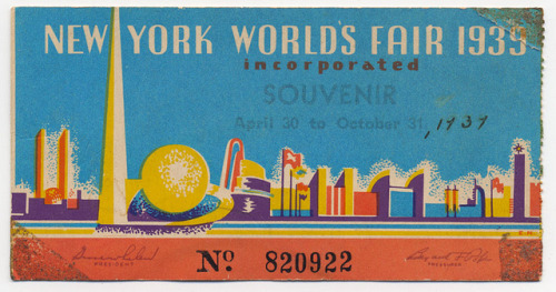 klappersacks:  New York World's Fair Ticket — 1939 by ElectroSpark on Flickr.
