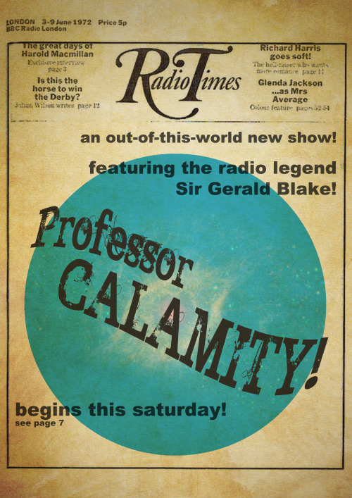 Professor Calamity featured in a 1972 edition of the Radio Times. A prop for my production of Rehearsal Space