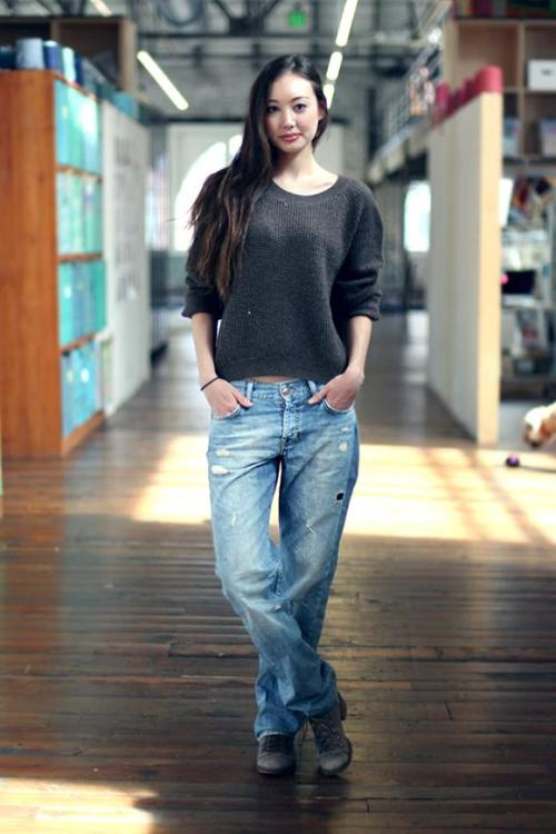 She rocks the boyfriend jeans! Source: Free People