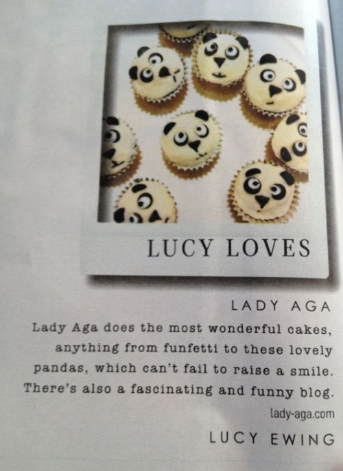 Drum roll please… Lady Aga's (second!) Sunday Times Style magazine feature.  Yeah!  Out today.  As a major fan of Lucy Ewing's super-fabulous work I am beyond thrilled with this mention, thank you so much. If you're after a cake commission, please see my tab above, or just click here. And here's a quick link-up for all of you who missed the panda cakes first time around.  Collective aaaaaw. Happy Easter everyone! x