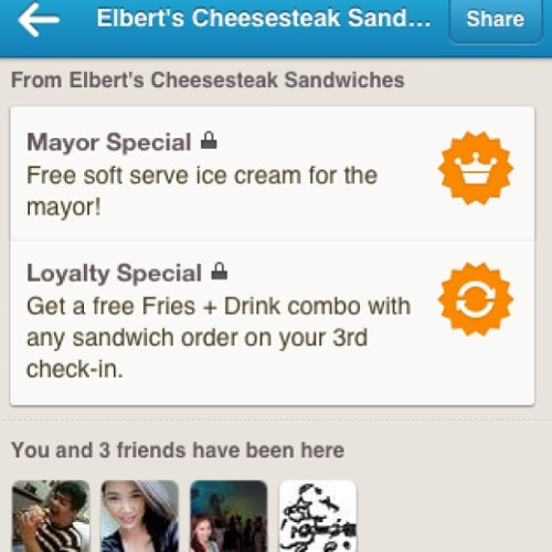 Cool… Foursquare Promos here in the Philippines. I remember my every third visit at Chili's Dedham. Free Dessert! (at Elbert's Cheesesteak Sandwiches)