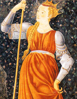 "Castagno. Detail from Queen Tomyris, 15th Century.  Tomyris was a Queen who reigned over the Massagetae, a pastoral-nomadic Iranic people of Central Asia, East of the Caspian Sea, in approximately 530 BC. It is recorded that she defeated and killed the Persian emperor Cyrus the Great during his invasion and attempted conquest of her country. Cyrus was killed and Tomyris had his corpse beheaded and then crucified, and shoved his head into a wineskin filled with human blood. She was reportedly quoted as saying, ""I warned you that I would quench your thirst for blood, and so I shall""."