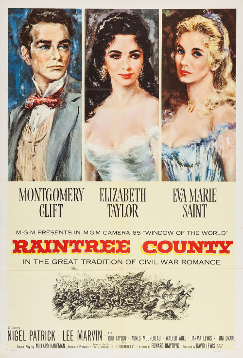 'Raintree County' - 1957 film poster, starring Montgomery Clift, Elizabeth Taylor & Eva Marie Saint