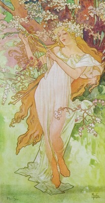 hoodoothatvoodoo:  Alphonse Mucha 'Spring' From The Seasons Series 1896