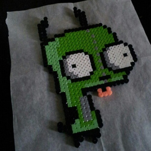 Last one for today. I think. :]  #invaderzim #gir #pixelart #perlerbeads #craftforboyfriend #craft #awesome #bejealous