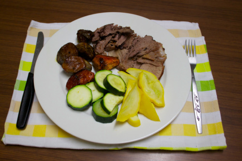 Roast lamb, button squash, zucchini, homegrown sweet potato