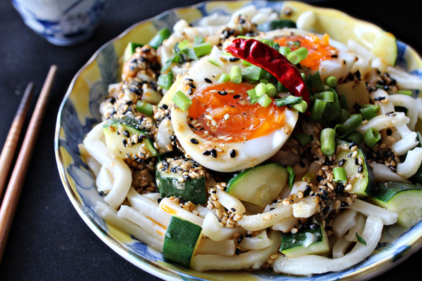 Sauteed Zucchini and Udon with Toasted Sesame Miso Dressing and Softboiled Egg