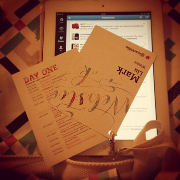 Really like the lanyard of #webstock  2013, program is upside down for easy reading #usability #design  (at Wellington Town Hall)