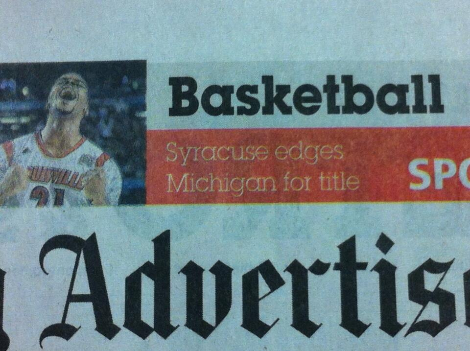 Apparently Syracuse won the national championship last night (at least according to The Montgomery Advertiser).
