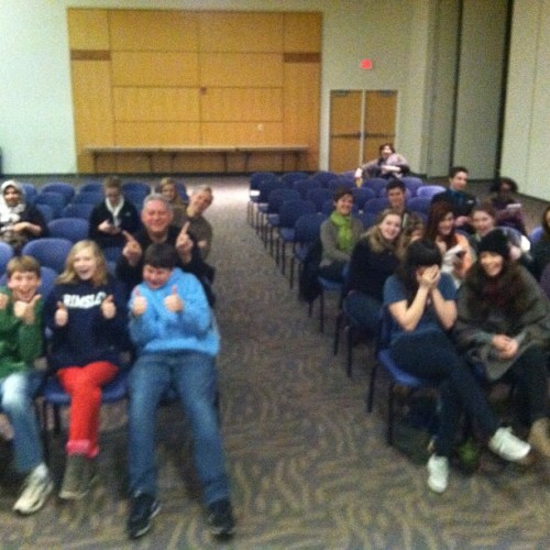 theideathief:  erikdobell:  The beginning of an audience at UNCG last night.  #mentalist #uncg #naca (at UNC Greensboro)  Here we are at Erik Dobell's show! I was playing my 3DS while waiting for the show to begin.  Want to play Where's Waldo and find me? This is probably the only picture of me you'll ever see.
