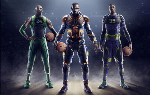 Nike Basketball Elite Series 2.0 a cool rendering of the three Nike Basketball athletes in armor and their sneakers for the Elite Series 2.0 Pack.  crazy futuristic look with the suits and the sneakers have been updated with some new materials for strength.  click here for more pics