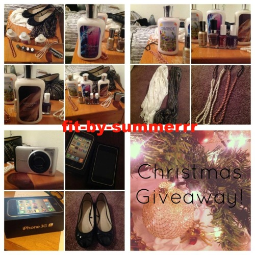 fit-by-summerrr:  Christmas Giveaway! Items: -Bath and Body Works lotions: Secret Wonderland, Warm Vanilla Sugar, and Country Chic -Nail Polishes: Essie, Sally Hansen, and Wet n' Wild -Forever 21 Headbands: Pearl, and Pink with gold chain -Forever 21 Scarves: White, and Green multi -New iPhone 3gs -Used Canon Powershot -New black flats from Forever 21 size 7  How to win: Must be following x, x  Reblog as many times as you want  This ends on January 2nd and I'll pick the winner using random.org   my ask is open if you have any questions! xx